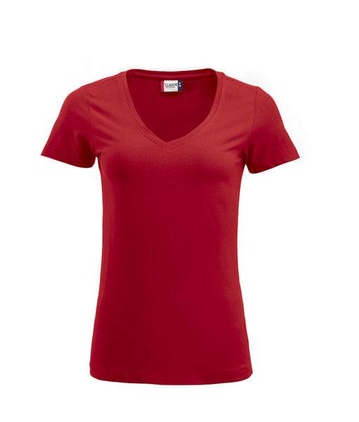 Stretch-Top für Damen, V-Ausschnitt, rot