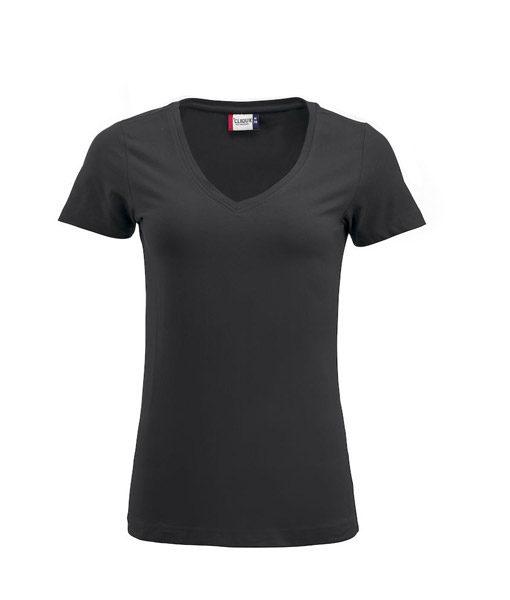 Stretch-Top für Damen, V-Ausschnitt, black
